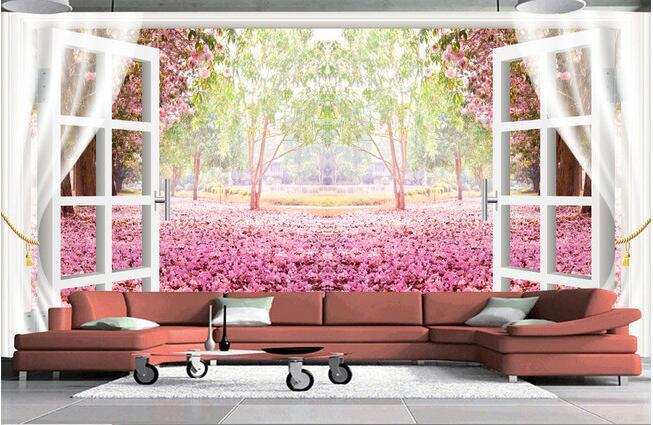 Рисунок окна в цветущий сад
