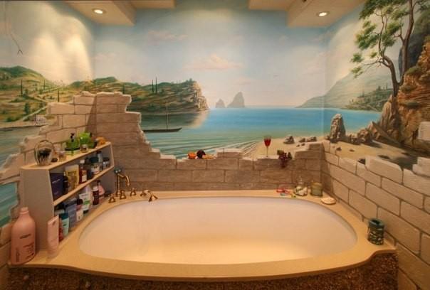 Оригинальный рисунок в ванной