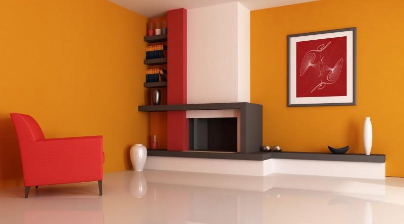 Персиковый цвет в дизайне гостиной