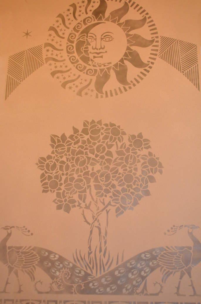Трафарет для росписи стены своими руками 591