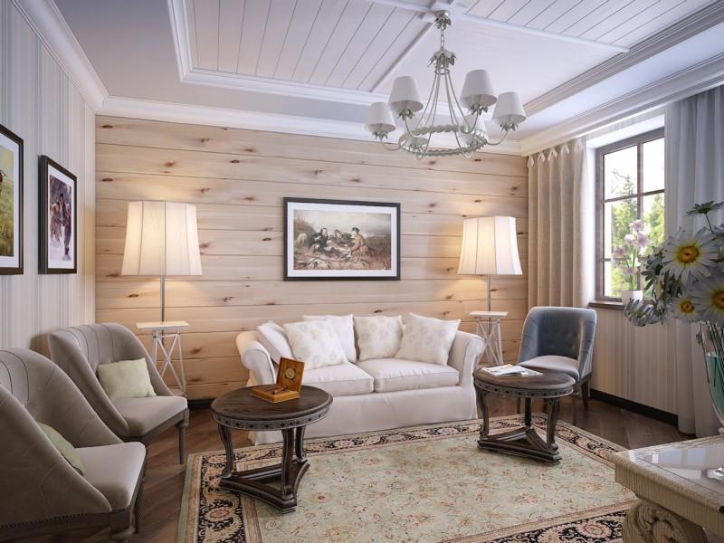 Стена из дерева в интерьере гостиной