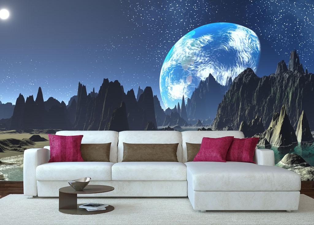 Космический ландшафт при оформлении стены