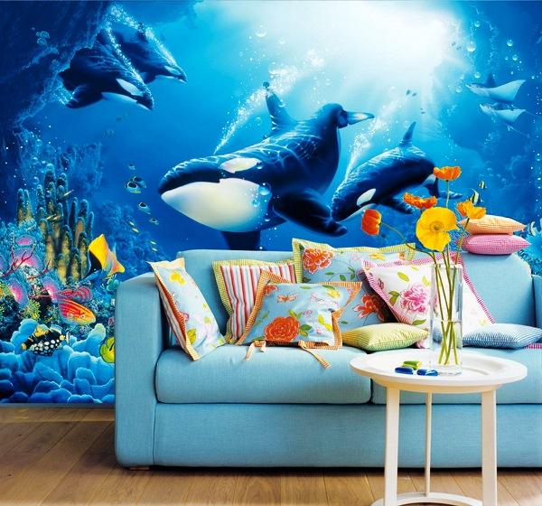 Синий цвет рисунка на стене