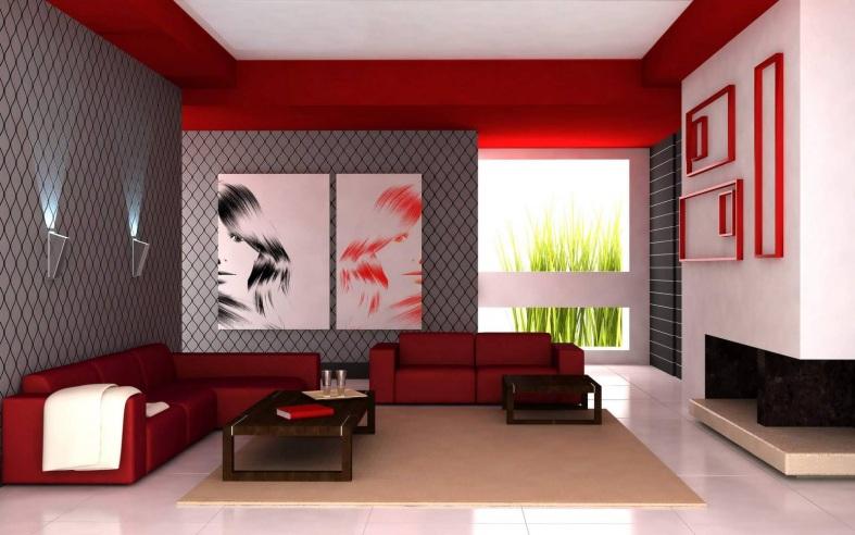 Сочетание красного и серого оттенков в интерьерах