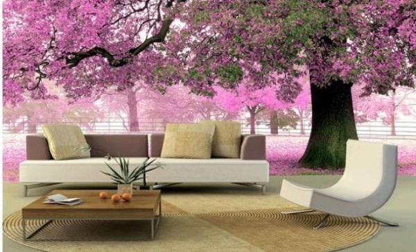 Цветущая сакура на стене в гостиной