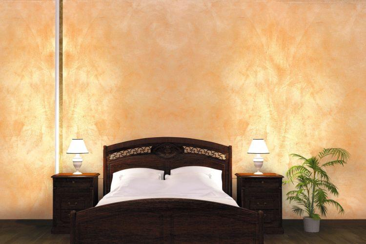 Декор спальни краской с песком