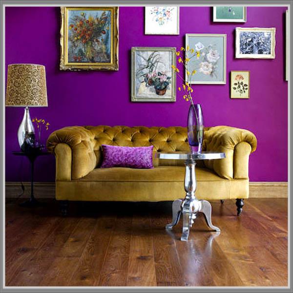 Фиолетовый цвет стен