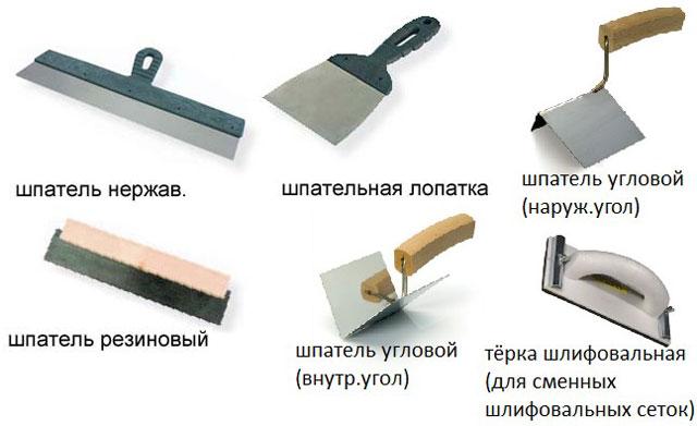 Инструментарий для шпатлевания стен под обои