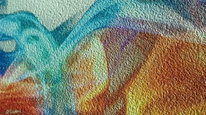 зодиакальном картина на ярко выкрашенную разноцветную фактурную штукатурку молоко классический яичным
