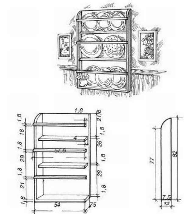 Полочки на кухню размеры