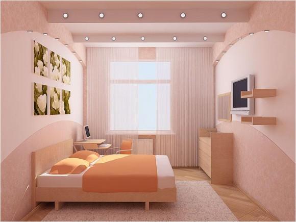 Спальня с окрашенными обоями