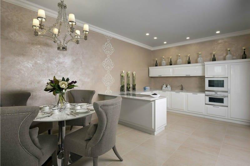Фото дизайн кухни с декоративной штукатуркой