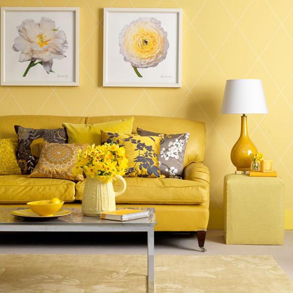 Желтые обои в интерьере