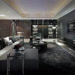 Дизайн черной гостиной