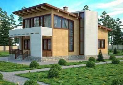 Дизайн деревянного дома в стиле хай-тек