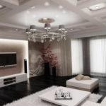 Освещение просторной гостиной