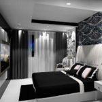 Спальня черно-белого цвета