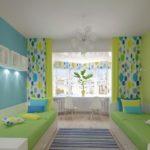 Зеленые и голубые тона комнаты
