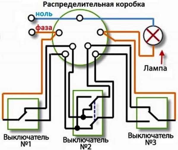 Схема подключения проходного выключателя: из двух, трех и более.