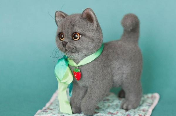Милые котята из шерсти: валяние сухим и мокрым способами