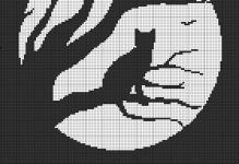 Схема вышивка черно белая крестом.