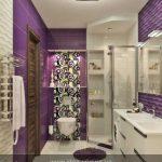 Дизайн интерьера ванной комнаты с ванной и душевой кабиной фото. Сиреневый цвет в интерьере