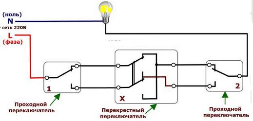 Схема подключения проходного выключателя света фото 801