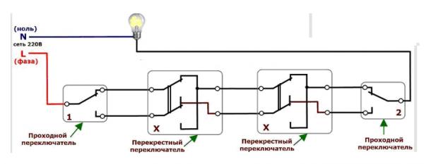 проходной схема света переключатель