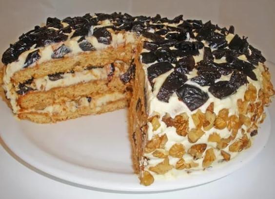 торт песочные коржи с черносливом рецепт