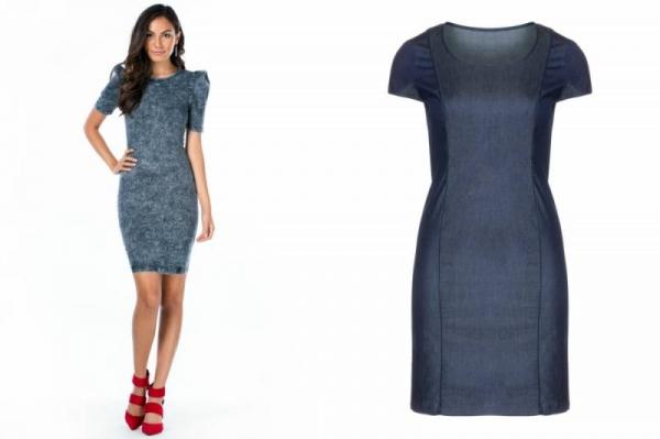 10fa1dcb55a6591 Джинсовое платье-футляр с длинным рукавом вполне органично вписывается в  рамки самого строгого офисного дресс-кода. Короткое платье из денима ...