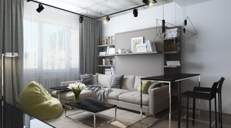 Красивы и необычный дизайн квартиры-студии